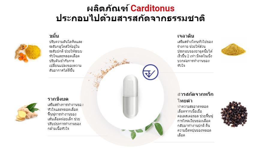 ผลิตภัณฑ์ Carditonus ประกอบไปด้วยสารสกัดจากธรรมชาติ